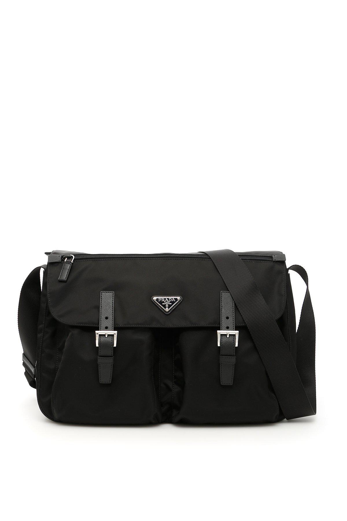 Lyst - Prada Buckled Messenger Bag in Black for Men 9bf43cd3c265d