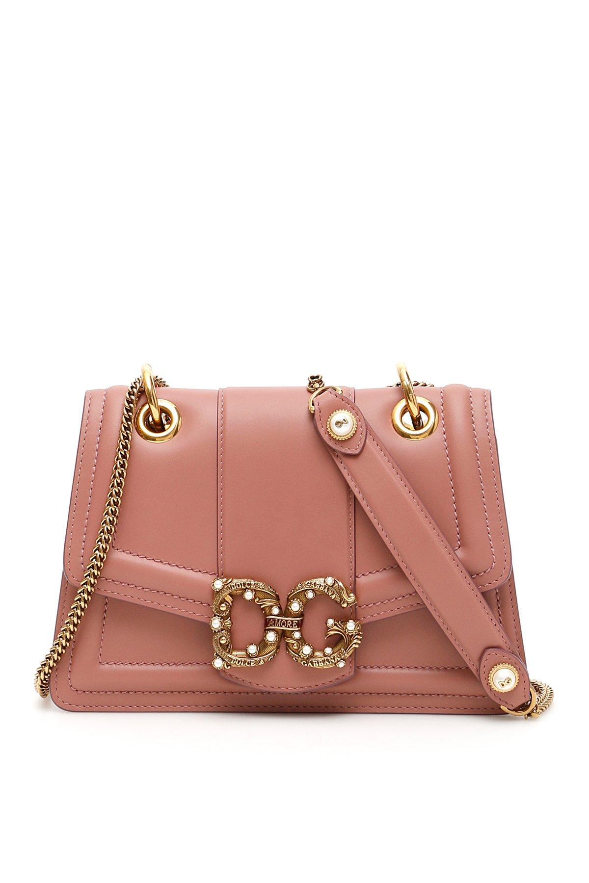 Dolce   Gabbana Logo Buckle Shoulder Bag in Pink - Lyst 02cf1ac7ede97