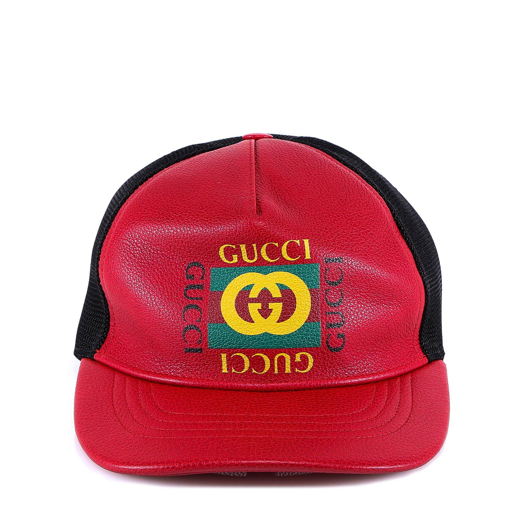 f270542aa64 Gucci Logo Leather Baseball Cap in Red for Men - Lyst