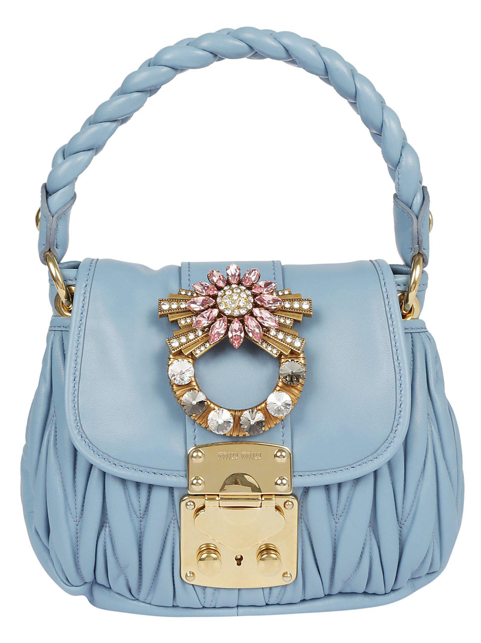 791d5504eeed Miu Miu Mini Matelassé Tote Bag in Blue - Lyst