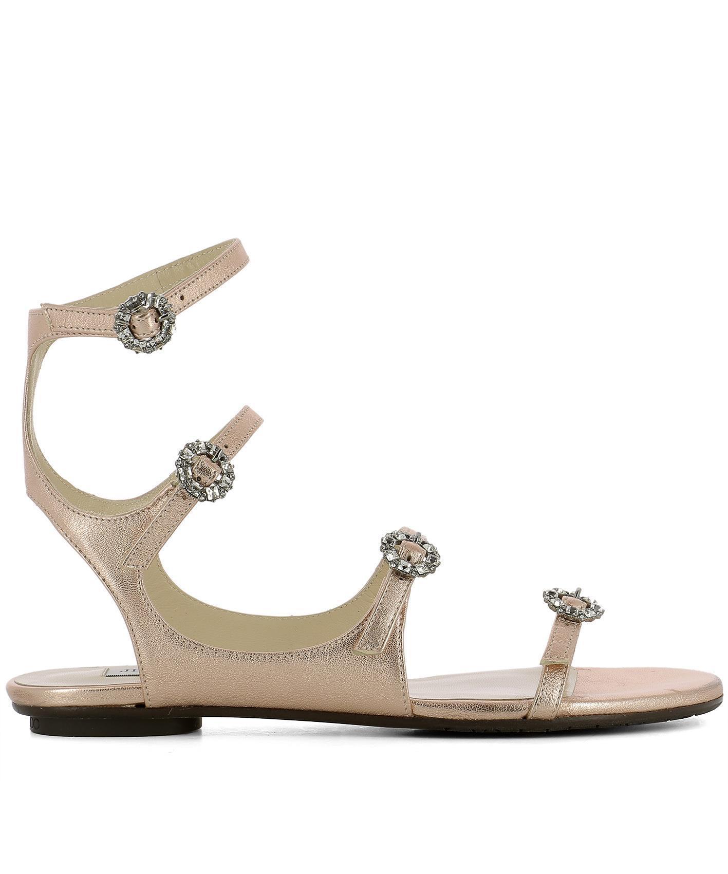 45a4bdd552fa Lyst - Jimmy Choo Naia Crystal Buckle Sandals in Pink