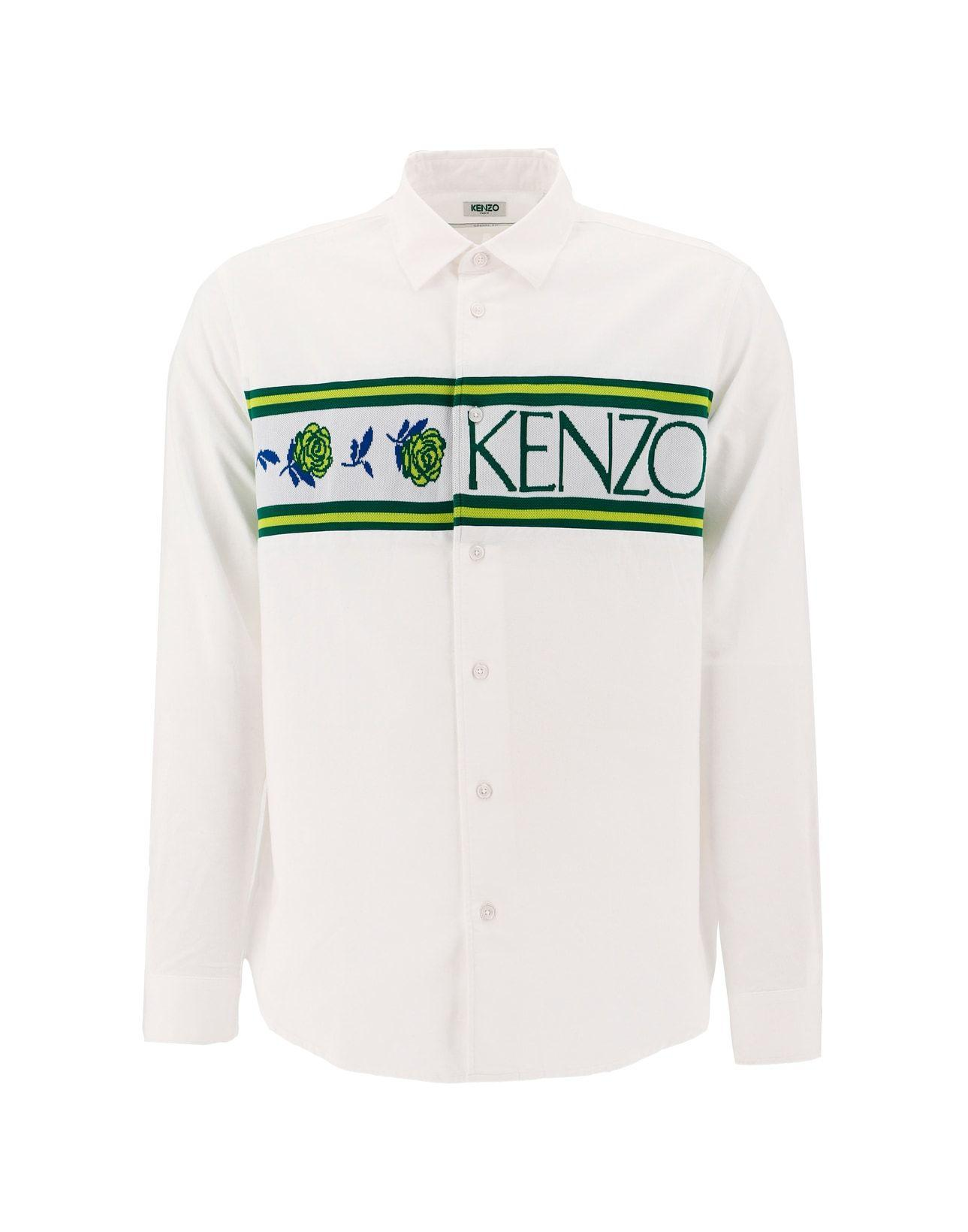 4864e29f KENZO Logo Panel Button-up Shirt in Green for Men - Lyst