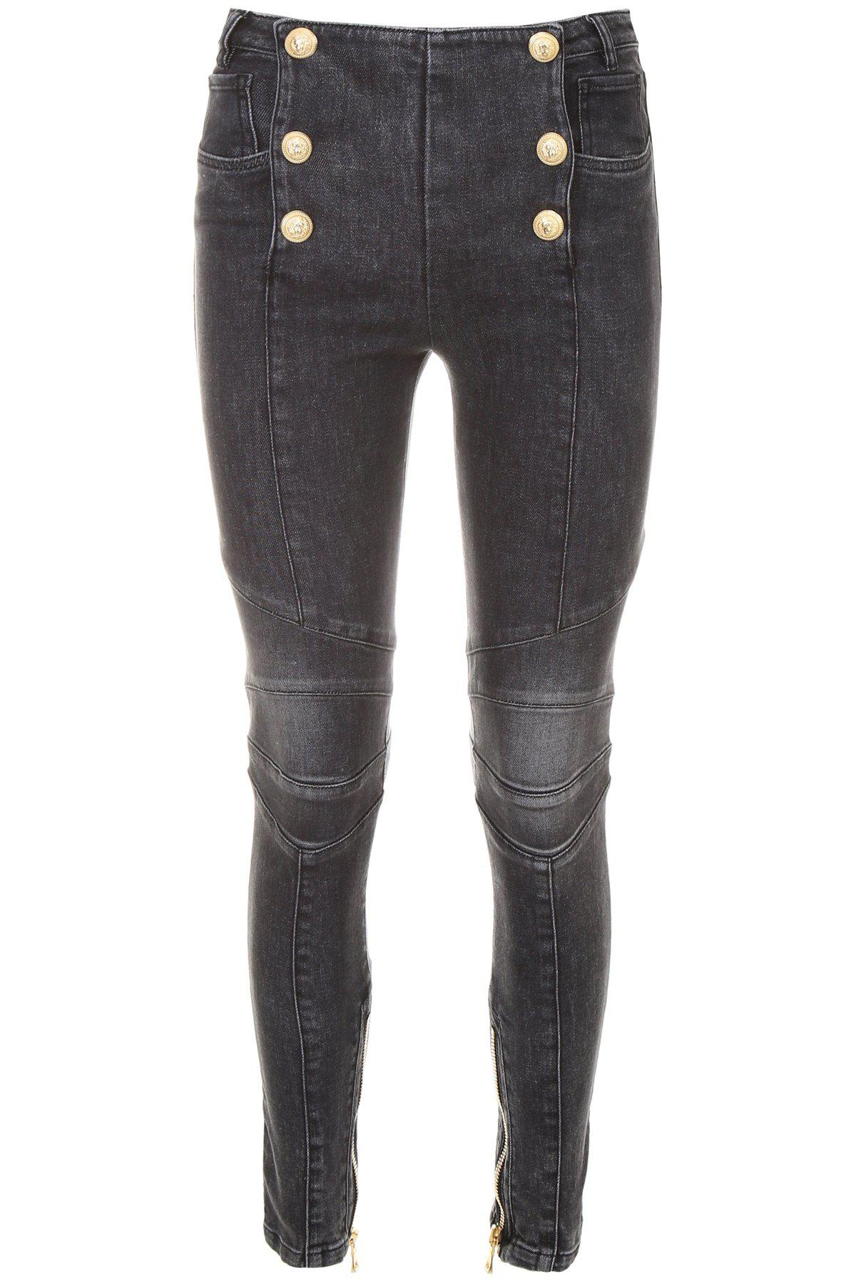 b509188b Balmain Double Breasted Skinny Jeans in Gray - Lyst