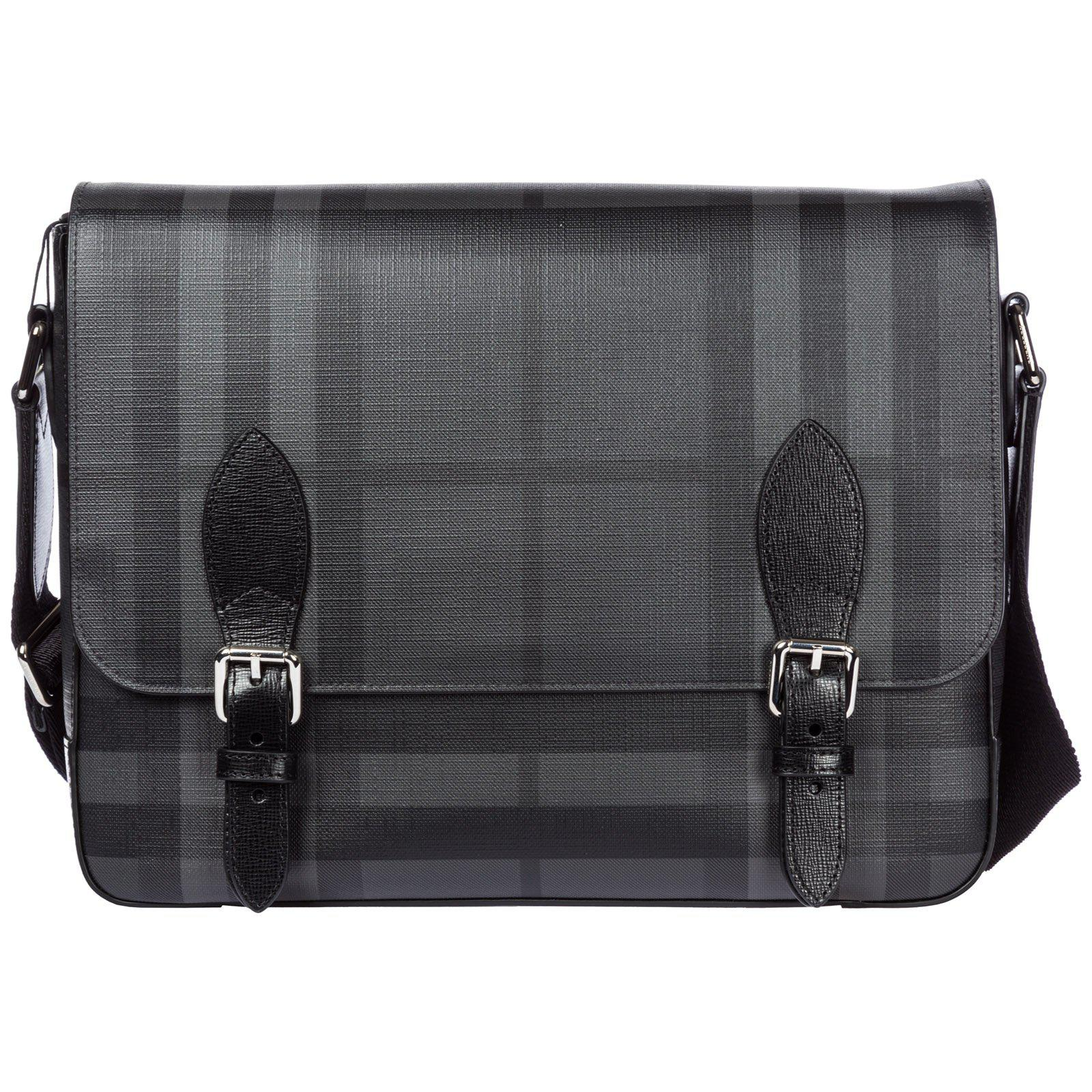 d98d374ef227 Lyst - Burberry Checked Messenger Bag in Black