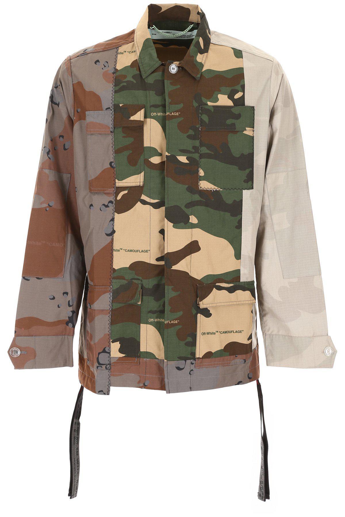f95dd3c6237ac Off-White c/o Virgil Abloh. Men's Green Arrows Print Camouflage Jacket