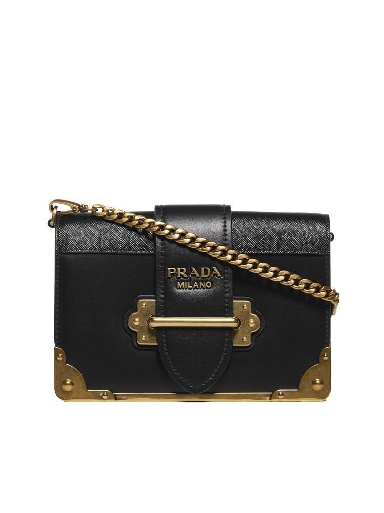 8b9414cee3d7 Prada Cahier Shoulder Bag in Black - Lyst