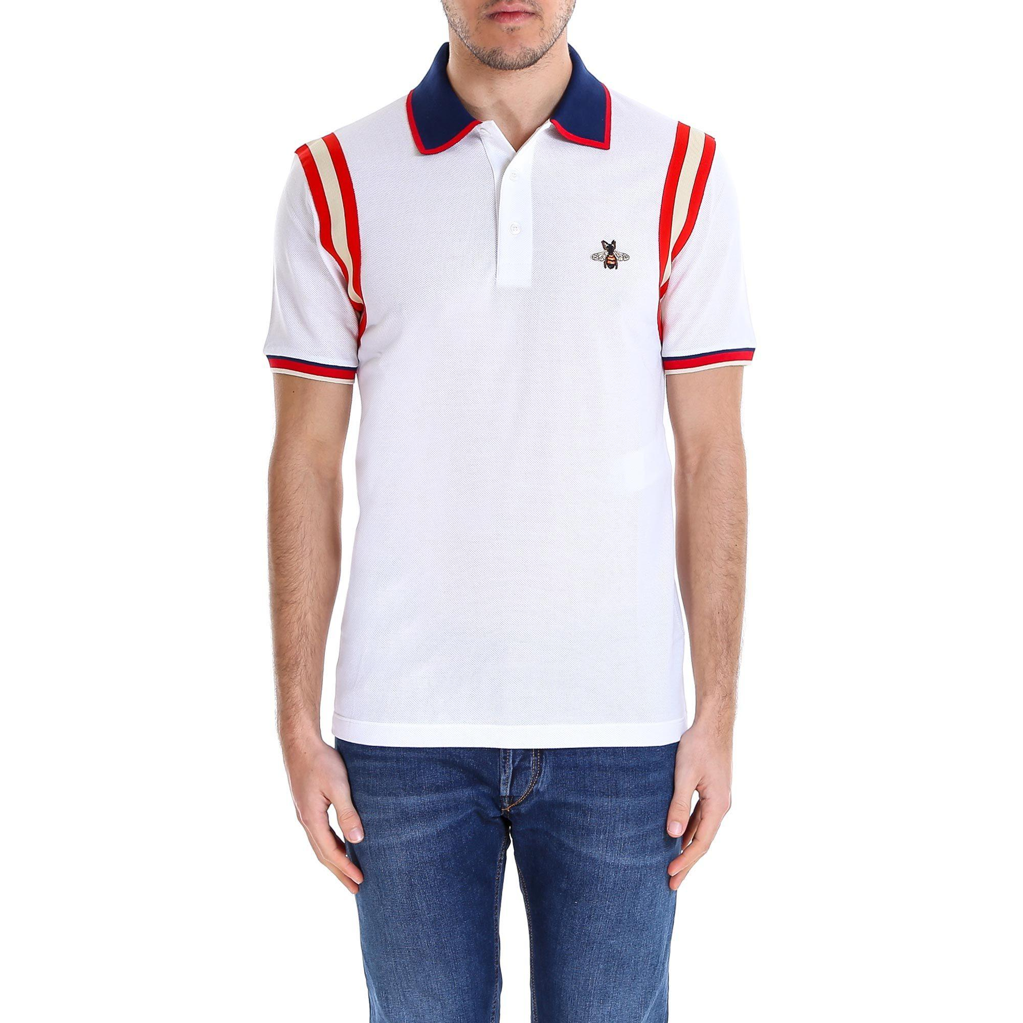7a64a07f3588 Lyst - Gucci Bee Detail Polo Shirt in White for Men