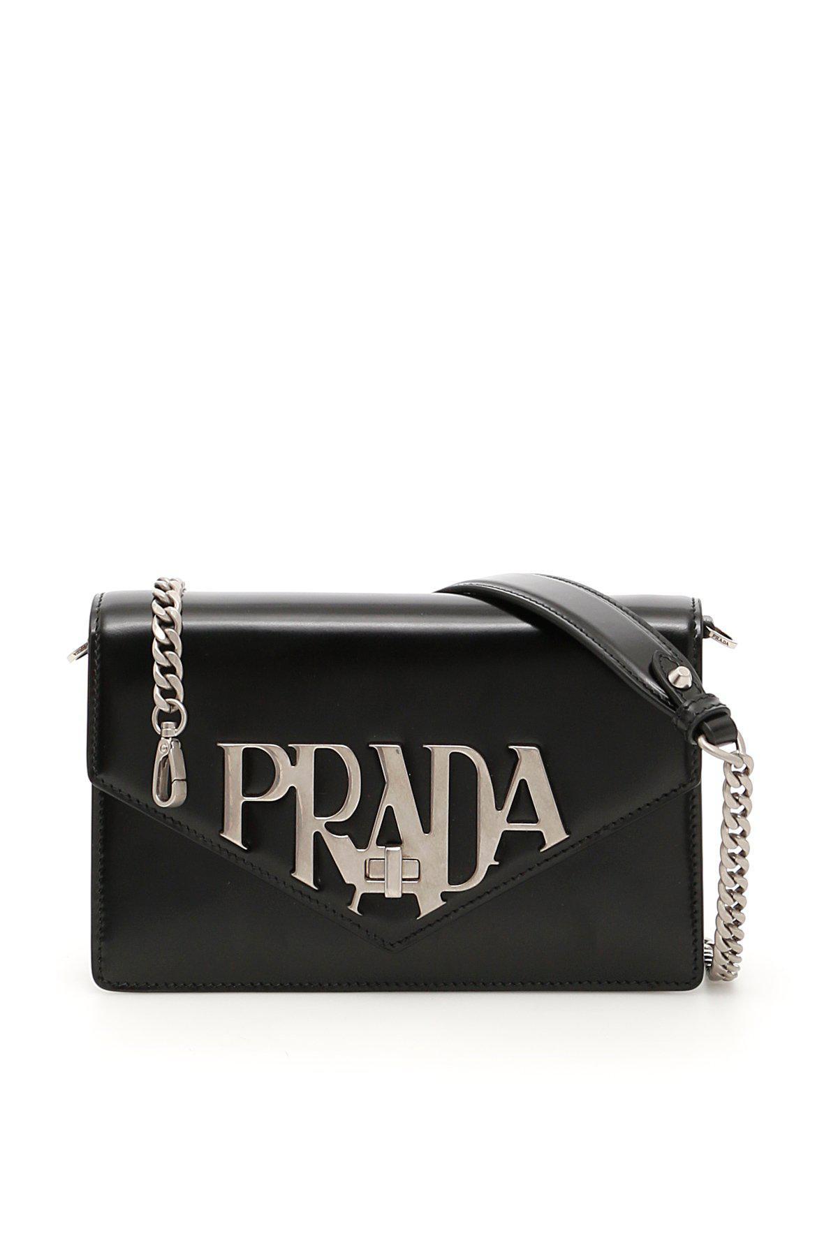 8f6e647a4d0e Prada - Black Logo Envelope Shoulder Bag - Lyst. View fullscreen