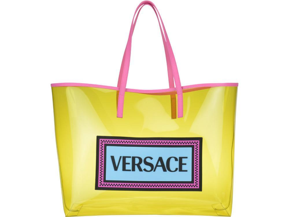 8ee88dcf6f9 Versace - 90 s Vintage Logo Soft Tote In Yellow Clear Vinyl - Lyst. View  fullscreen