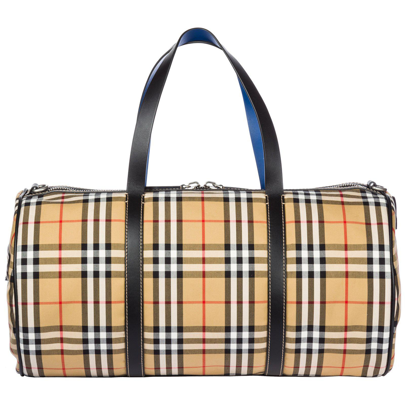 0fd2414273c0 Burberry Large Vintage Check Duffle Bag in Natural for Men - Lyst