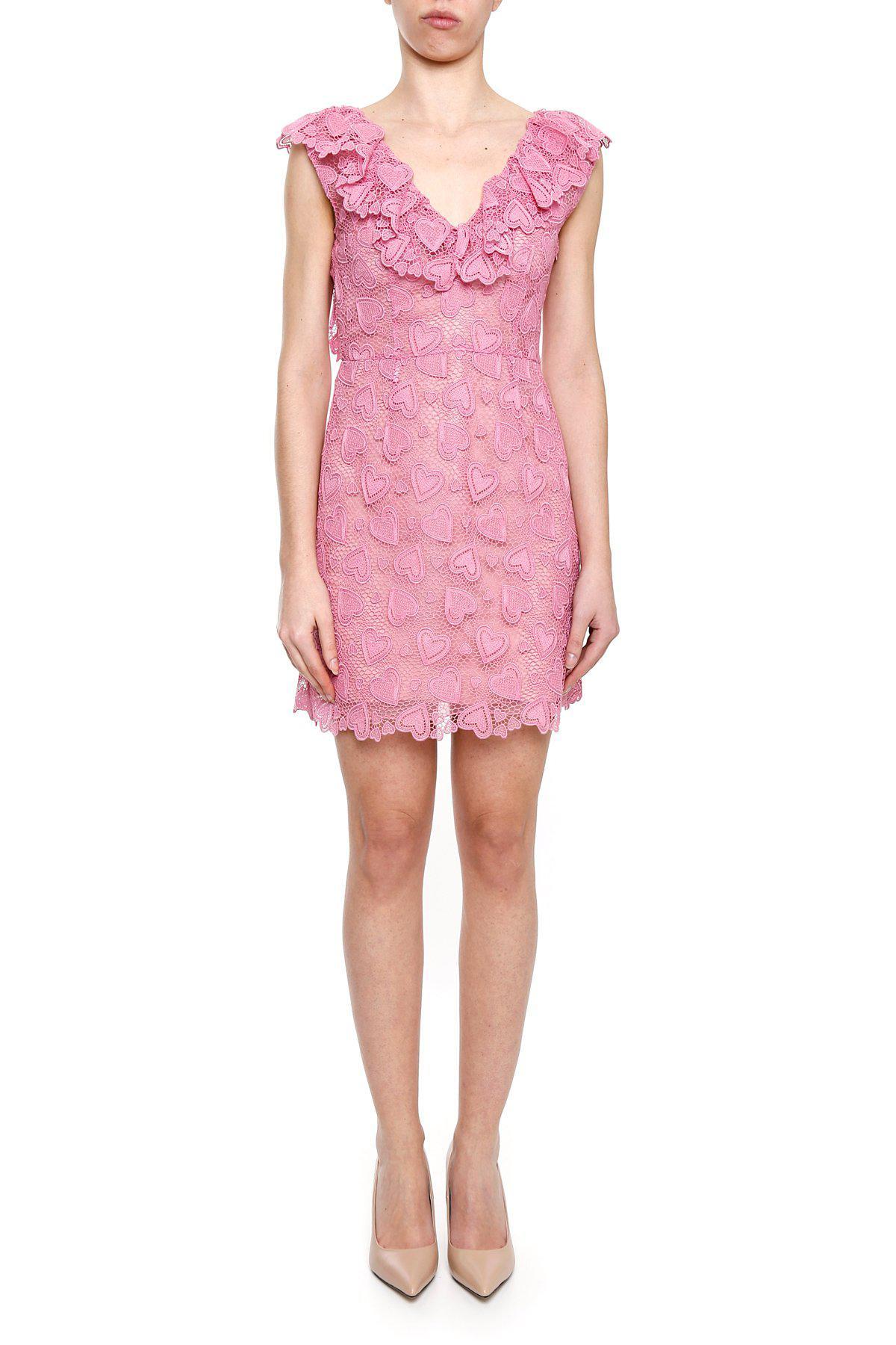 79e068a5ba4a8 Miu Miu Ruffled V-neck Lace Mini Dress in Pink - Lyst