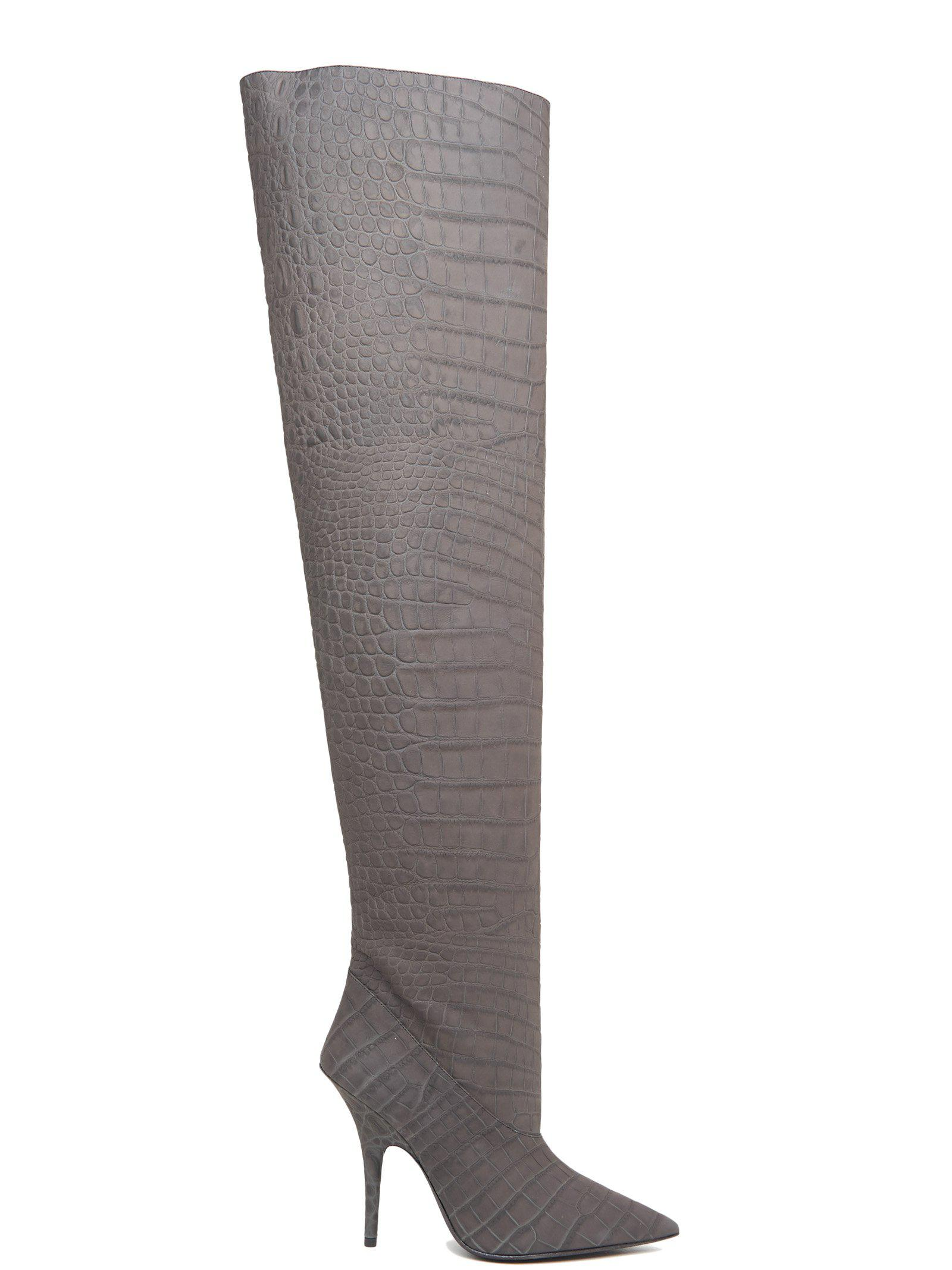 2e821c243f3 Yeezy Croc Effect Over The Knee Boots in Gray - Save 20% - Lyst