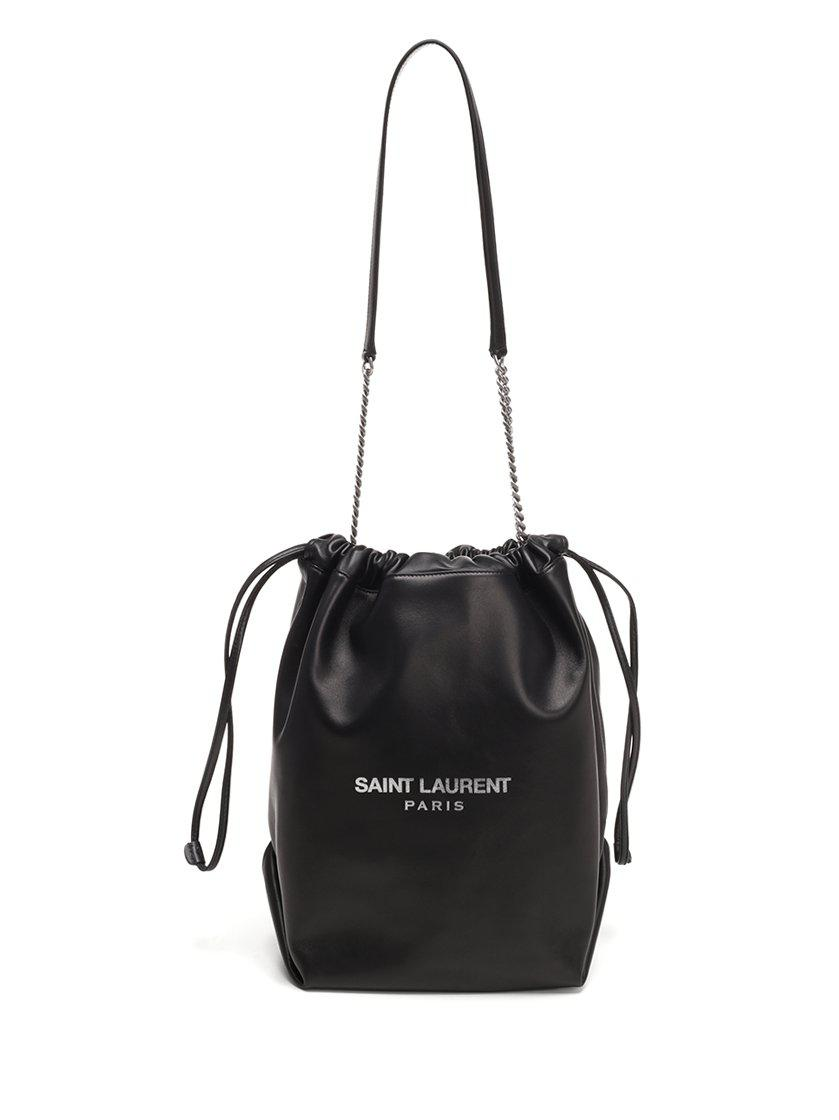 19d106f090e2 Saint Laurent Teddy Leather Bucket Bag in Black - Lyst
