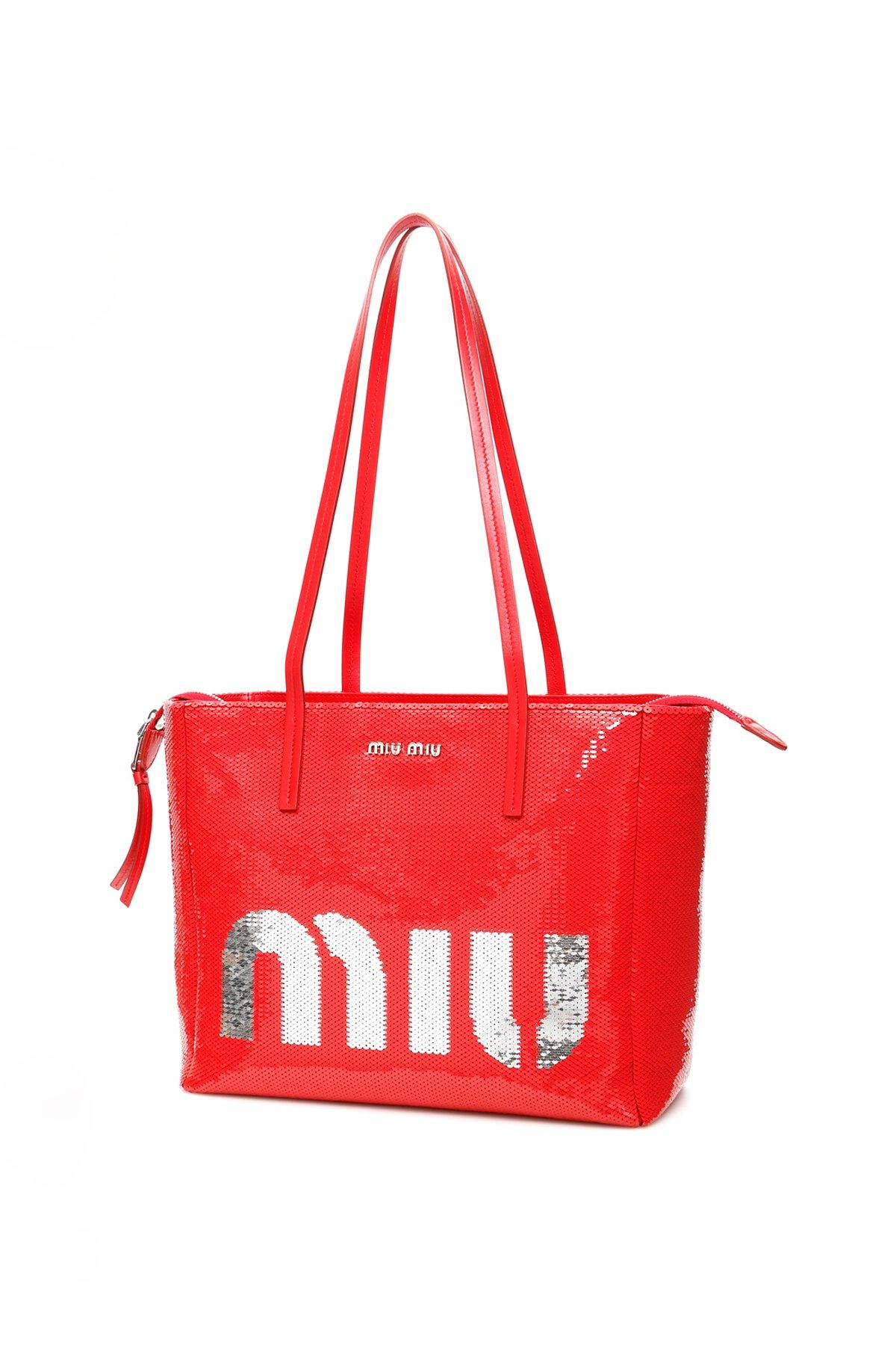 d89d514cd763 Lyst - Miu Miu Logo Print Tote in Red - Save 28%