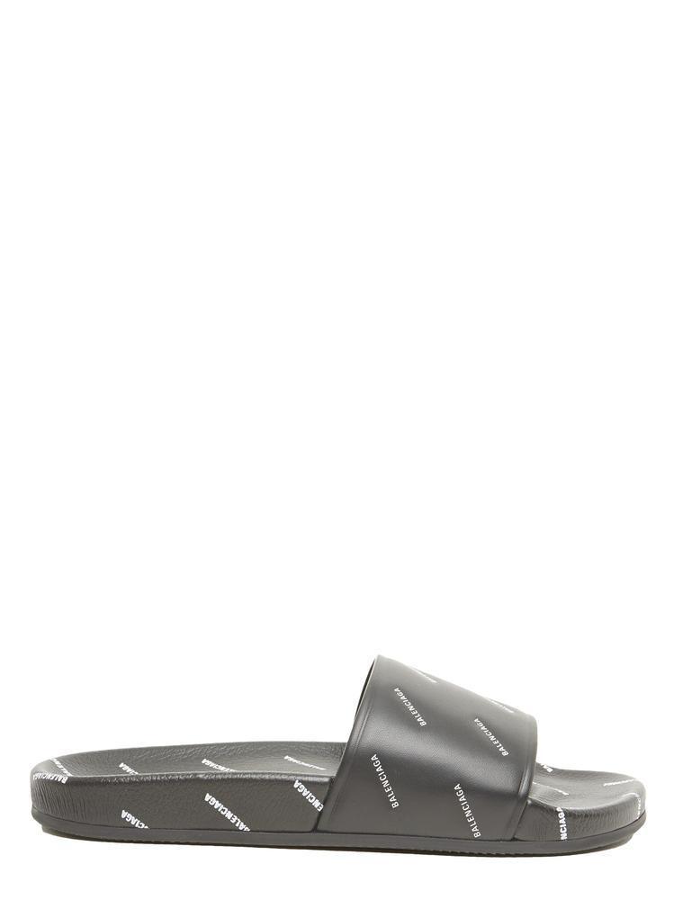 436da742d4aa8 Balenciaga - Black Logo Print Slides - Lyst. View fullscreen