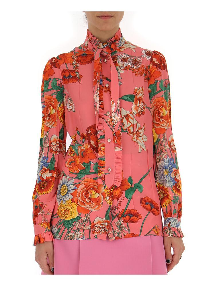 0f415915e Gucci Floral Ruffle Trimmed Blouse in Red - Lyst