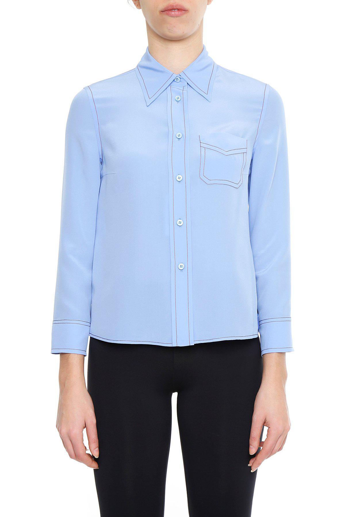 e40ca2d20c4bb Lyst - Prada Top Stitch Detailed Shirt in Blue