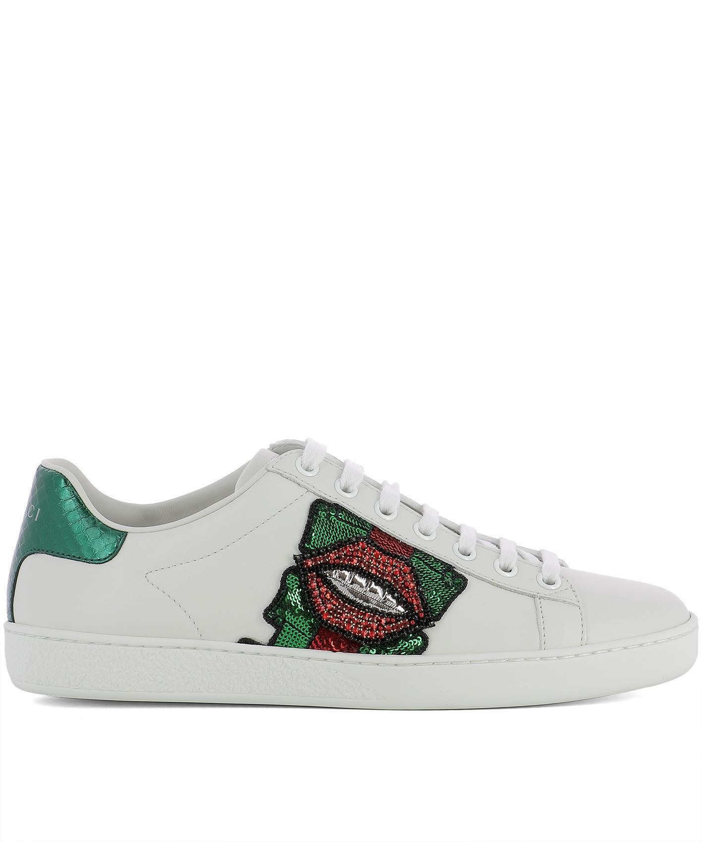 2220ab4384c Gucci Lips Sequin Sneakers in White - Lyst