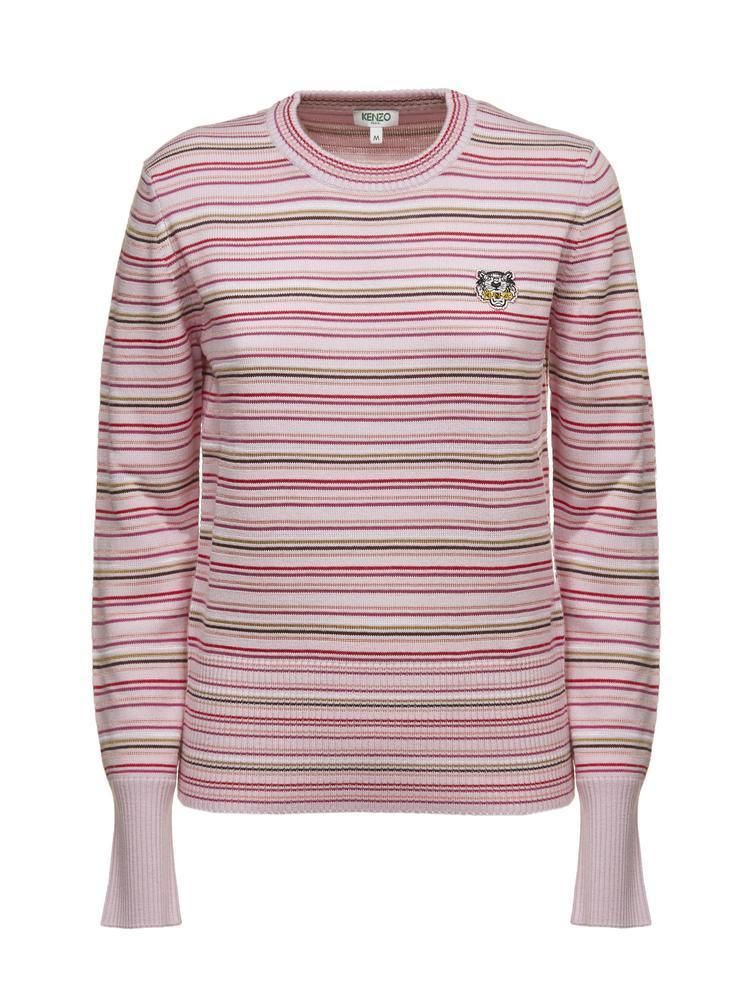 6f22230f4d KENZO - Pink Striped Tiger Crest Sweater - Lyst. View fullscreen