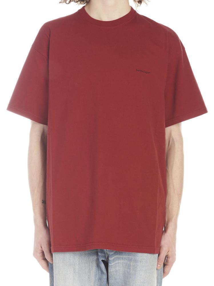 a05cc9100 Lyst - Balenciaga Logo Crew Neck T-shirt in Red for Men