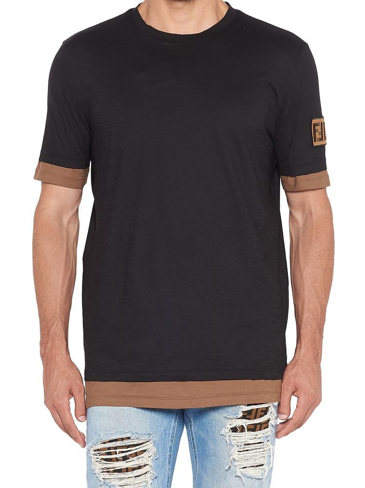 5681b6d3 Lyst - Fendi Logo Patch T-shirt in Black