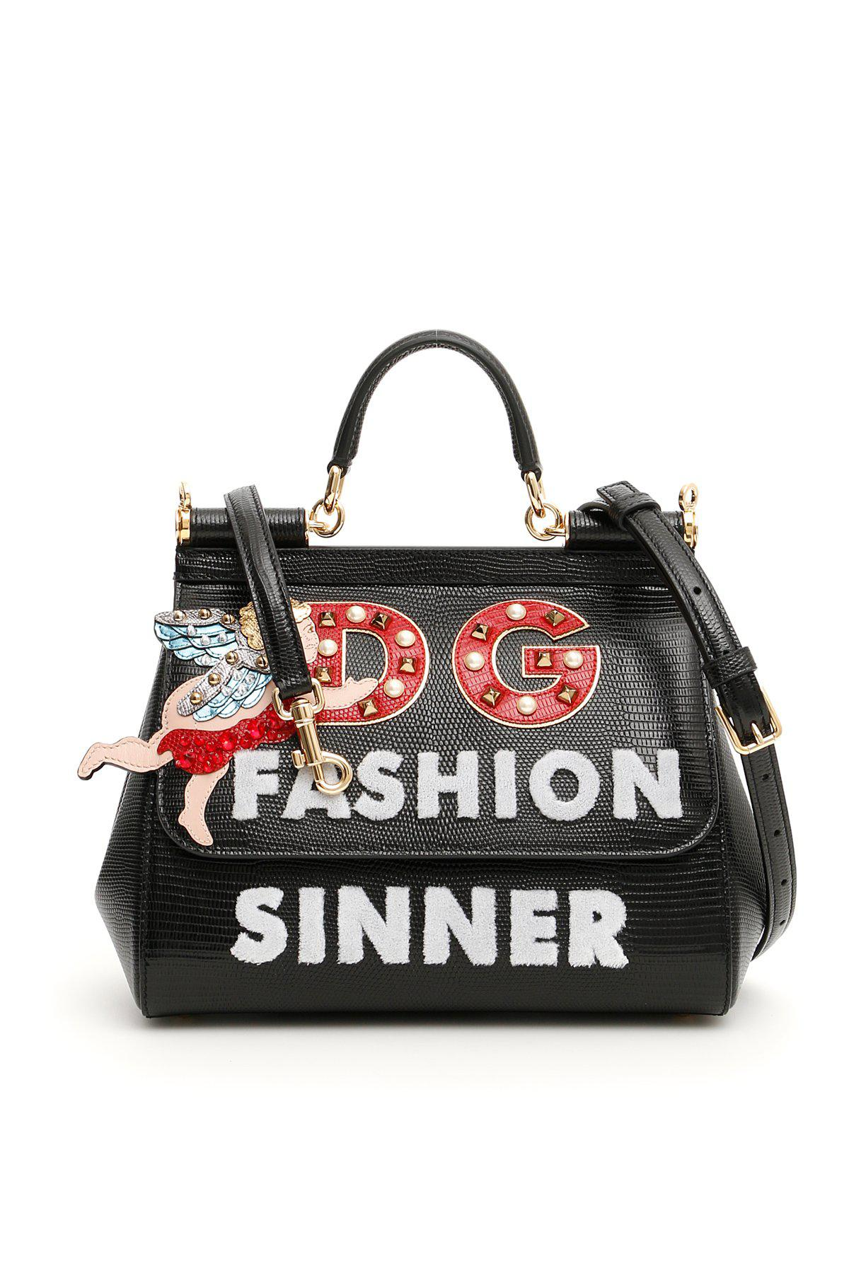 d1e8d244f935 Lyst - Dolce   Gabbana Medium Sicily Bag in Black