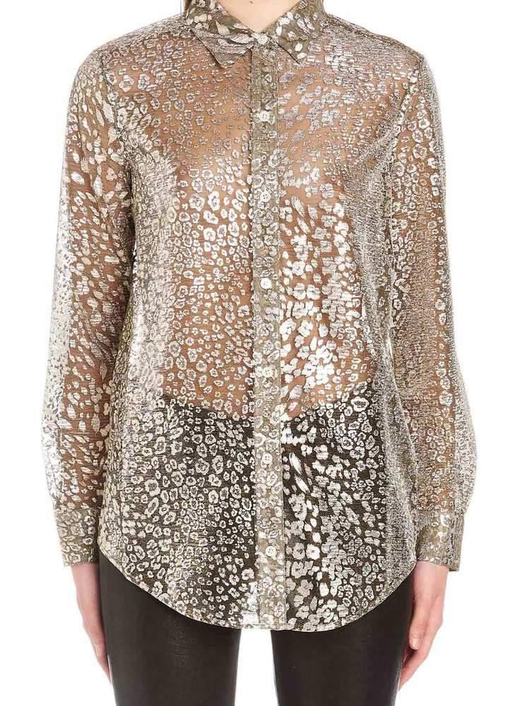 c017b01aae4b3d Lyst - Equipment Sheer Printed Button-up Shirt in Metallic