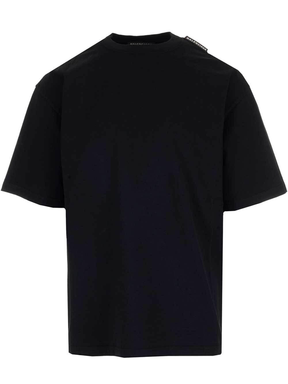 20250808c Lyst - Balenciaga Logo Tag T-shirt in Black for Men