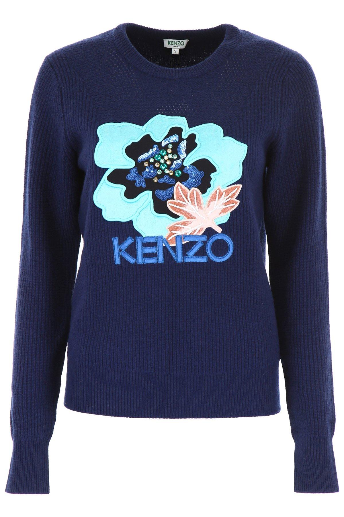 0a4cd0e9 Lyst - KENZO Logo Crewneck Jumper in Blue - Save 42%