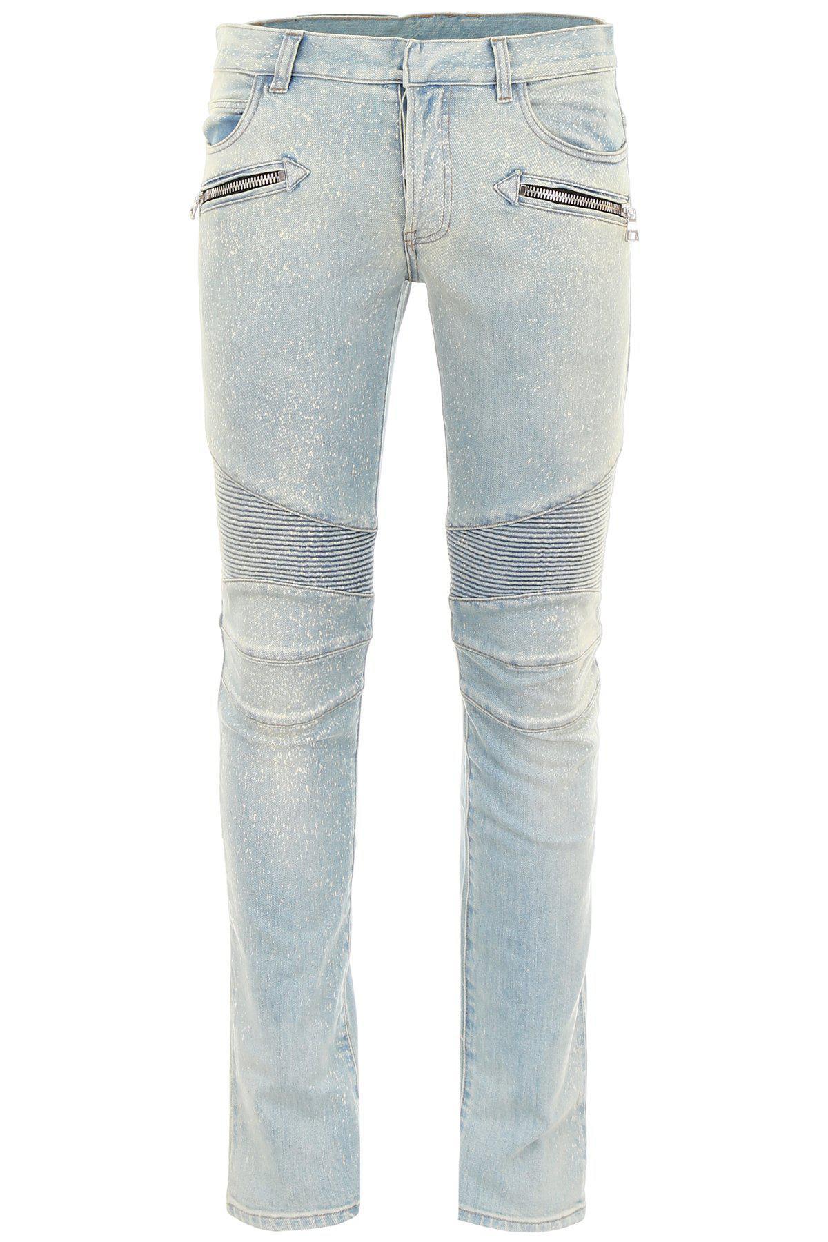 ce163efd Balmain Biker Jeans in Blue - Lyst