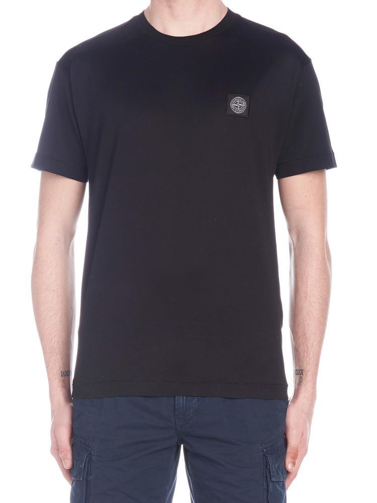 bef7100e Stone Island Black T-shirt With Logo Patch in Black for Men - Save ...