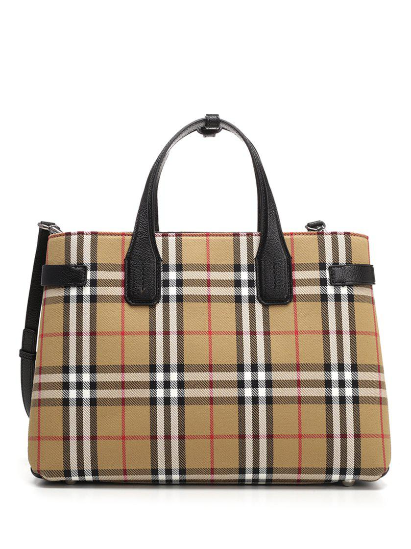 78a4cdf17b3f Lyst - Burberry Vintage Checked Tote Bag in Natural