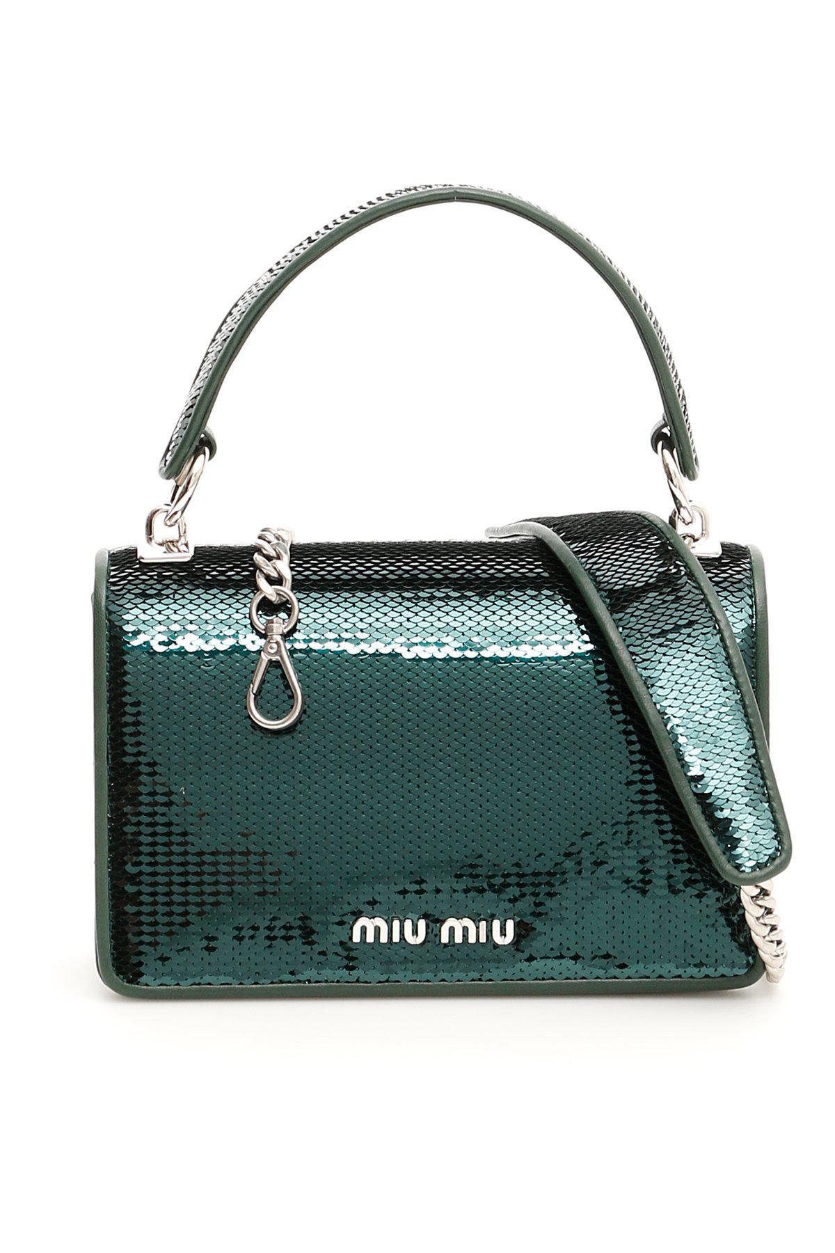 cdf2314a300a Miu Miu Sequin Mini Crossbody Bag in Green - Lyst