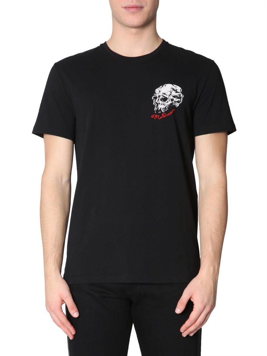 f9e657a8 Alexander McQueen. Men's Black Logo-embroidered Printed Cotton-jersey ...