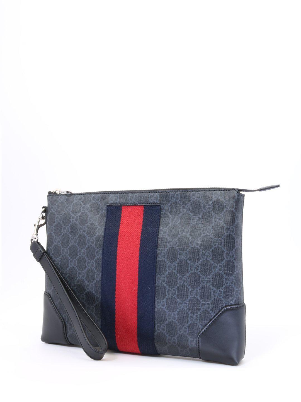 54dc63560af Gucci GG Supreme Pouch in Black for Men - Lyst
