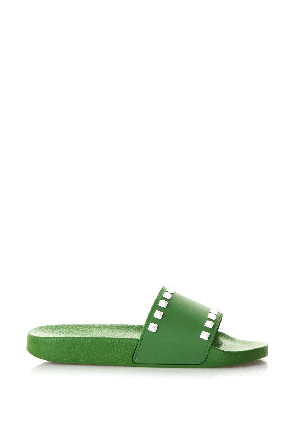 b8a2194830579 Lyst - Valentino Garavani Rockstud Slides in Green - Save 19%