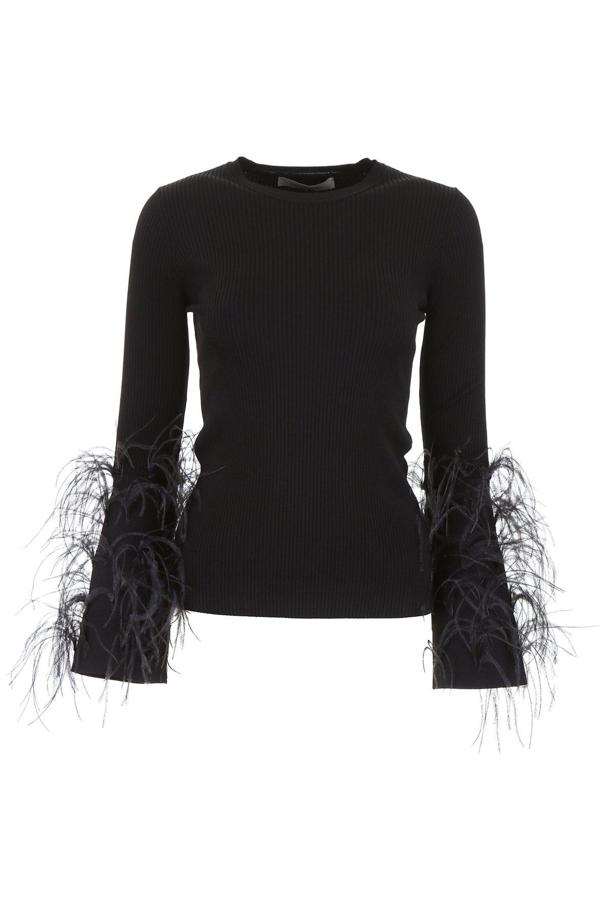 aeb4a23a372e6 Lyst - Valentino Ostrich Feather Embellished Jumper in Black