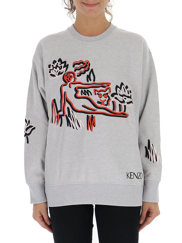 081dd75ab7 KENZO - Gray Embroidered Patch Sweatshirt - Lyst. View fullscreen