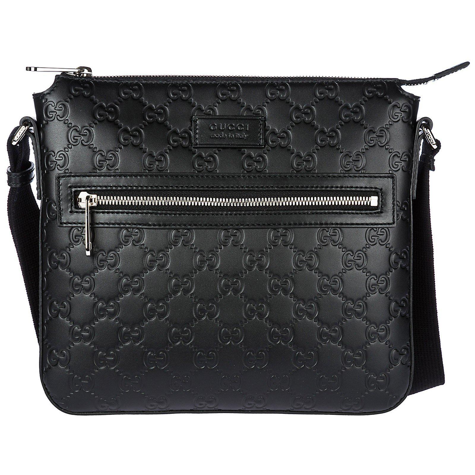 af665c111ae Gucci Signature Embossed Messenger Bag in Black for Men - Lyst