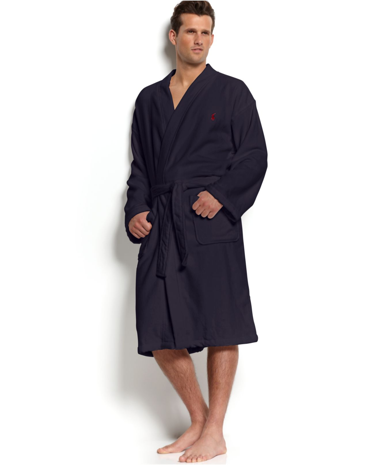 polo ralph lauren ralph lauren big tall men 39 s sleepwear terry kimono robe in blue for men lyst. Black Bedroom Furniture Sets. Home Design Ideas