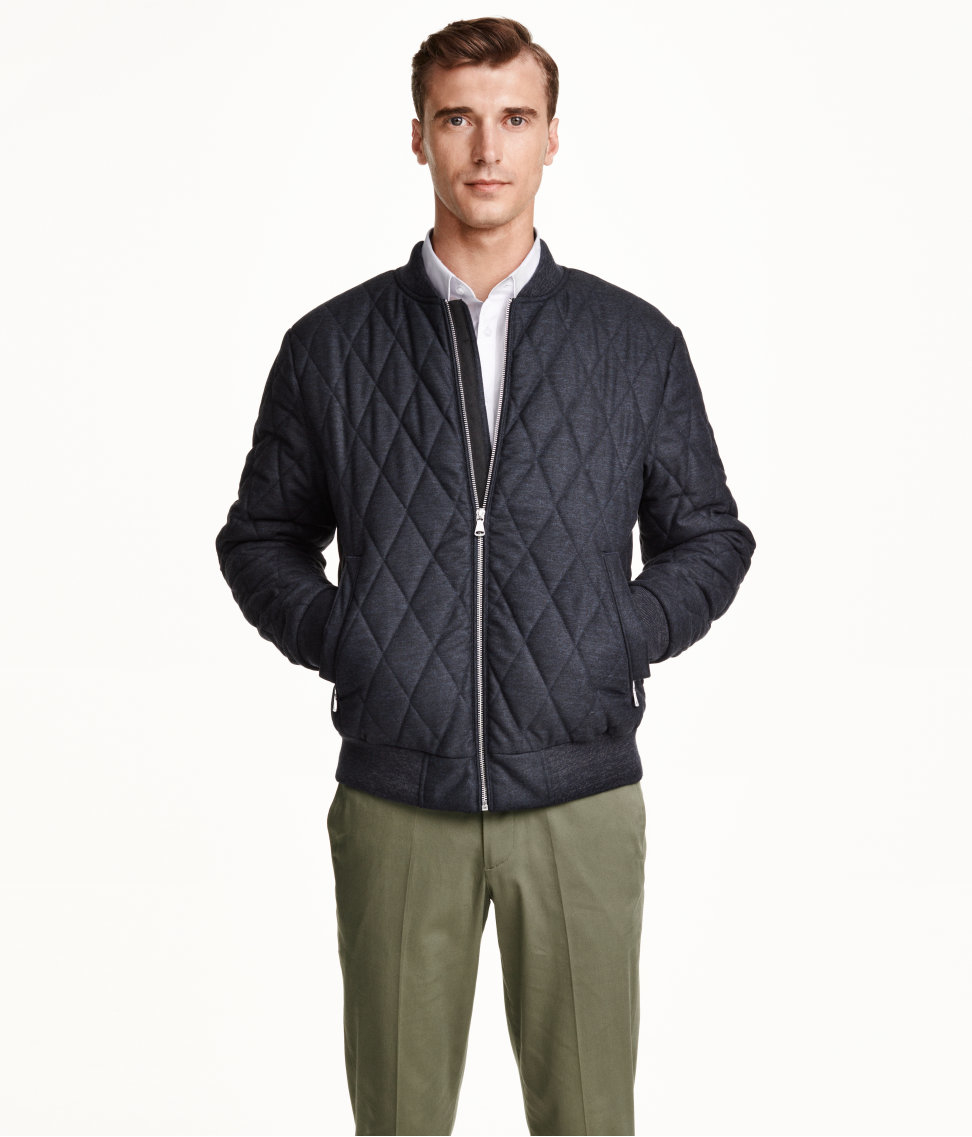 H&m Quilted Bomber Jacket in Blue for Men | Lyst