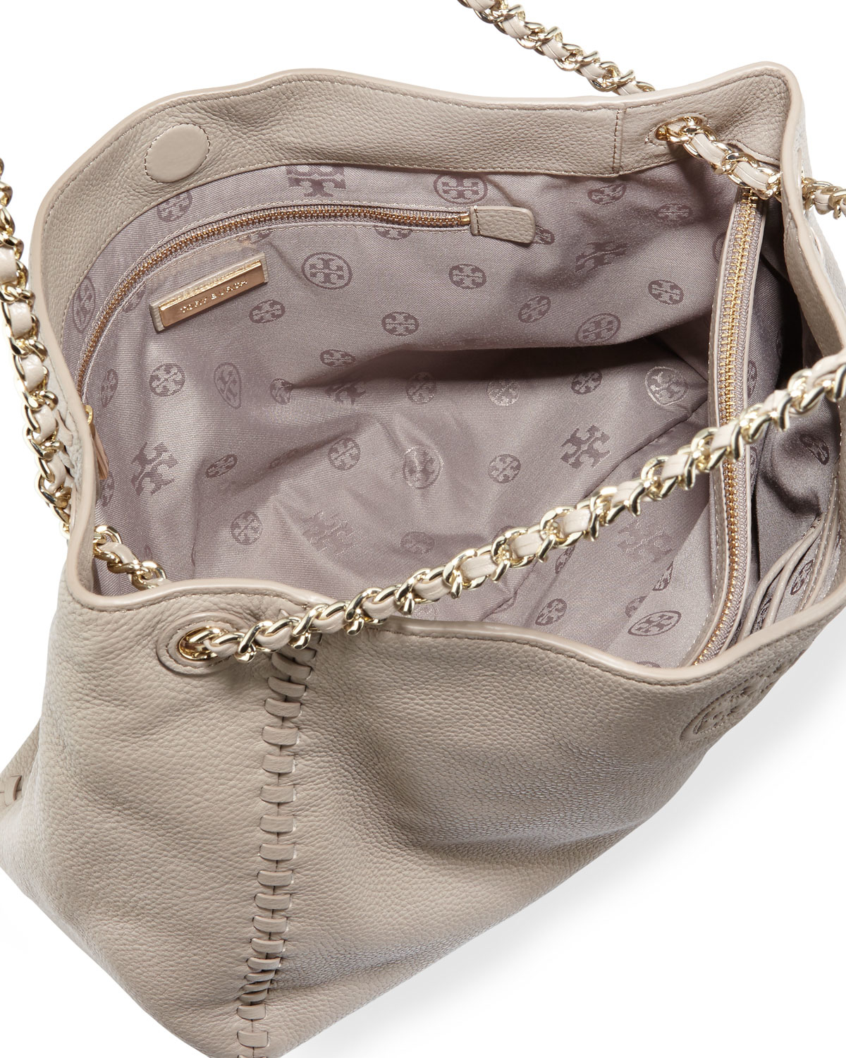 0a12284425d ... coupon code for lyst tory burch marion chain strap slouchy tote bag in  gray adb12 bd9d0