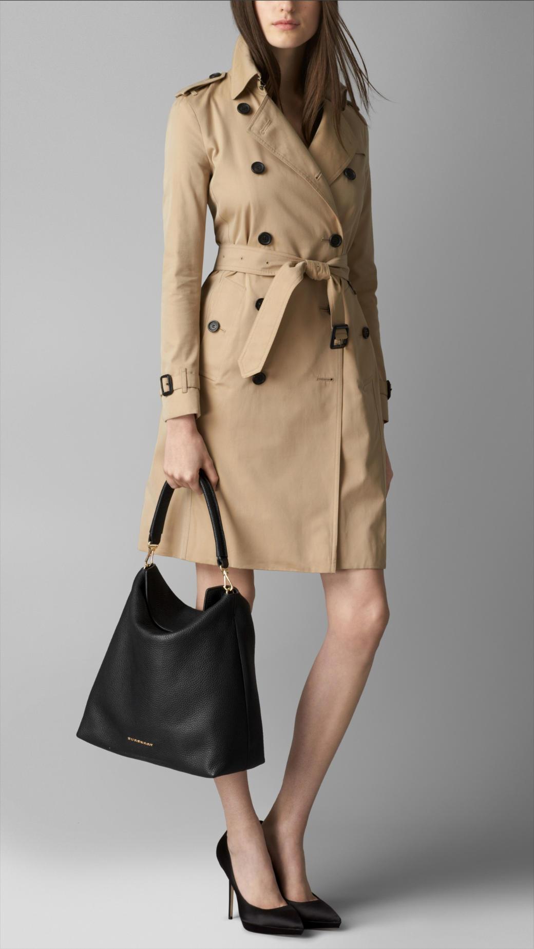 c7613fb2065c Lyst - Burberry Medium Leather Hobo Bag in Black