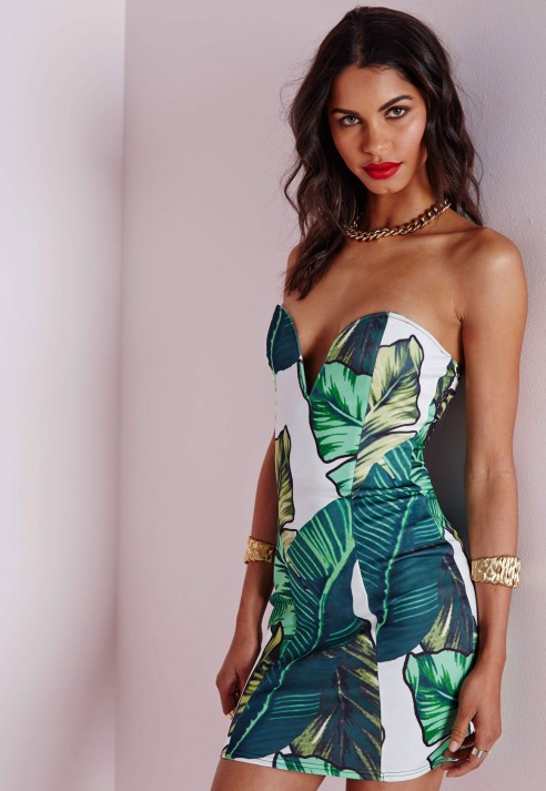 leaf print bandeau mini dress