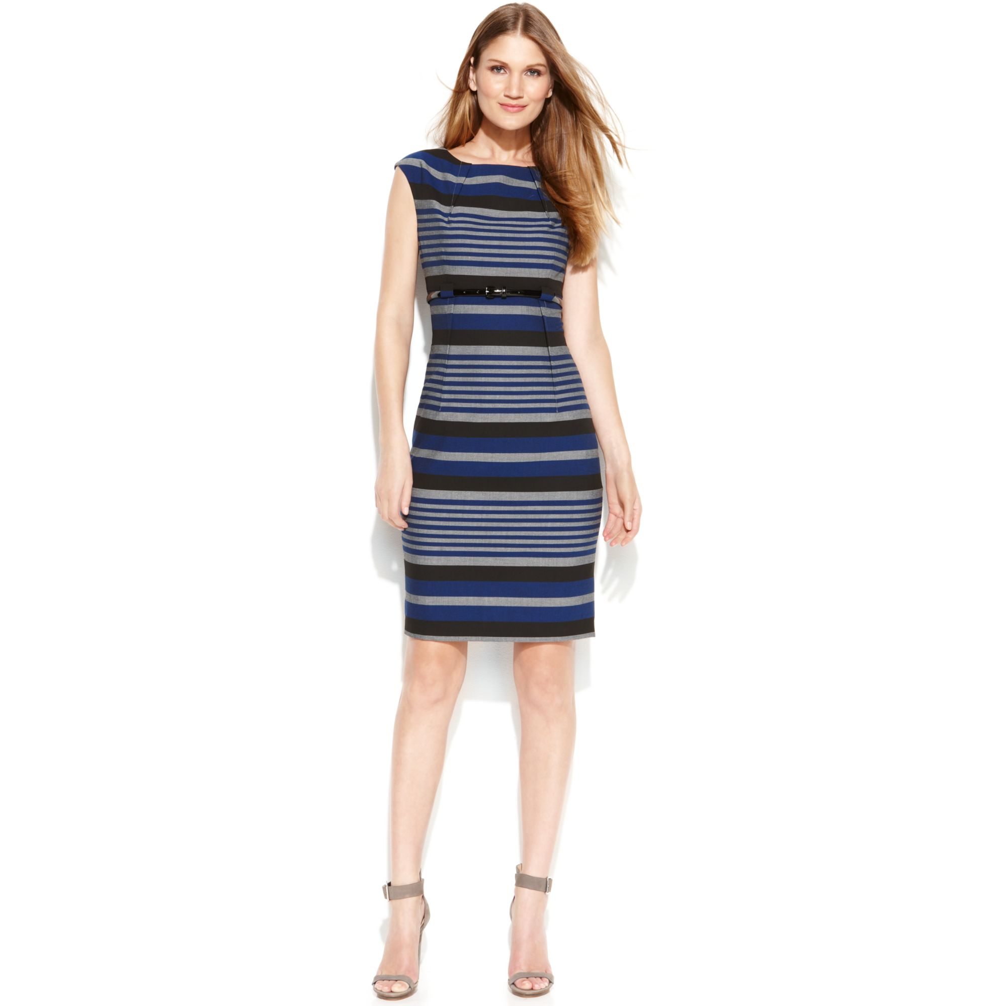 calvin klein capsleeve belted striped sheath lyst