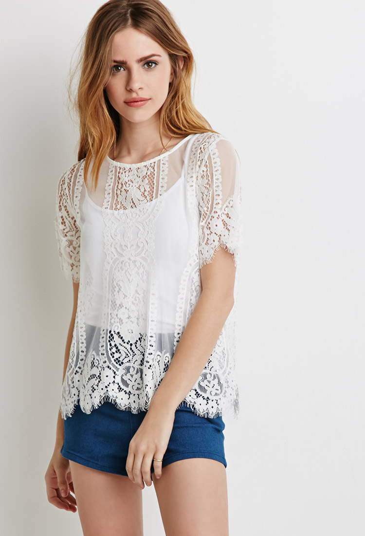 21 Best Grow Your Tarot Business Online Images On: Forever 21 Scalloped Lace Top In White
