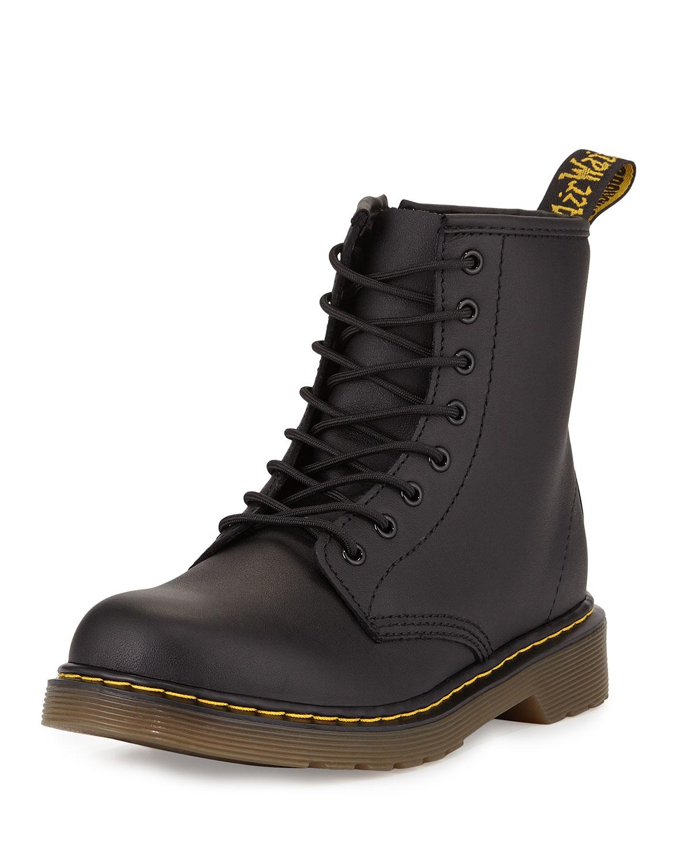 Dr Martens Delaney Matte Leather Military Boots In Black