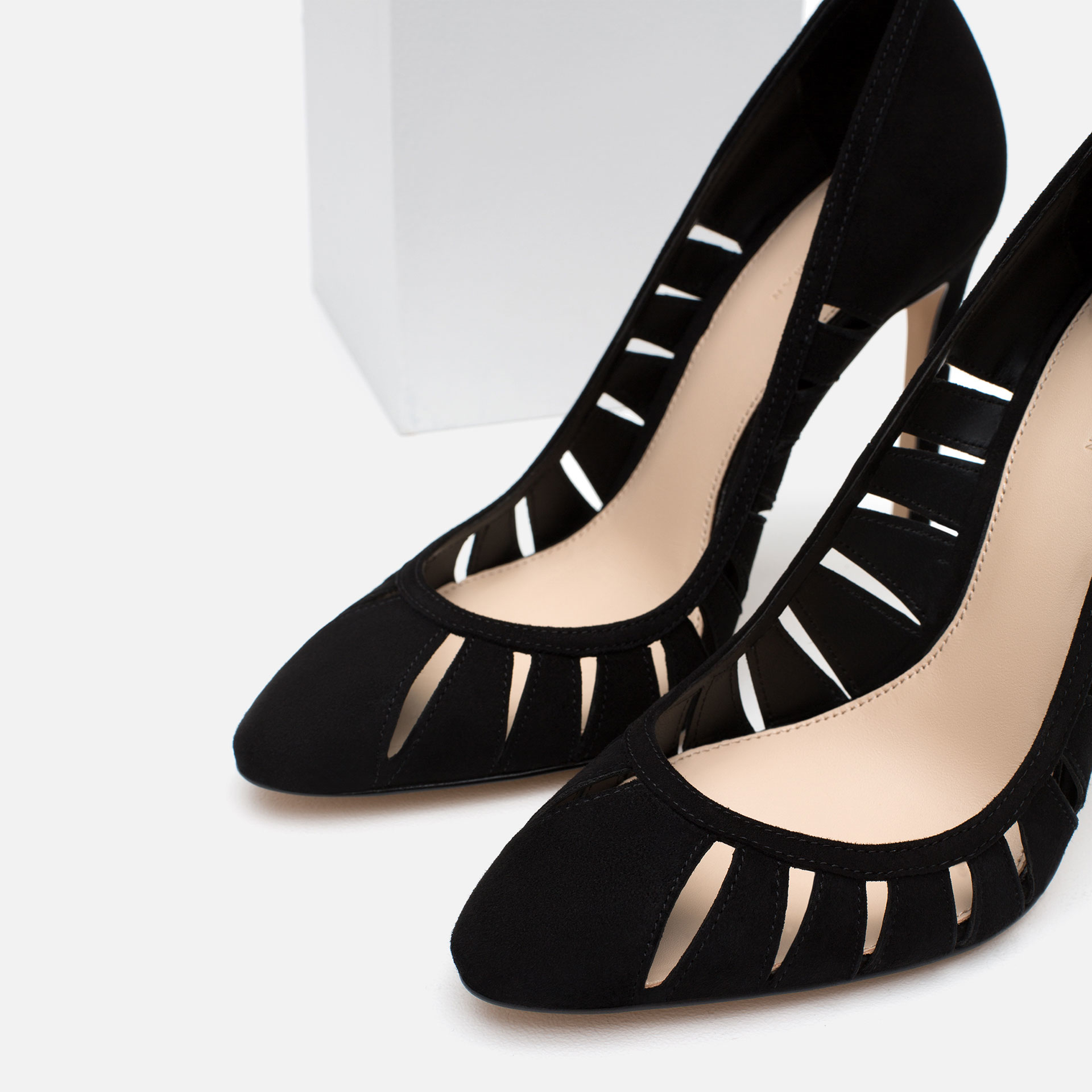 Black Leather High Heel Shoes