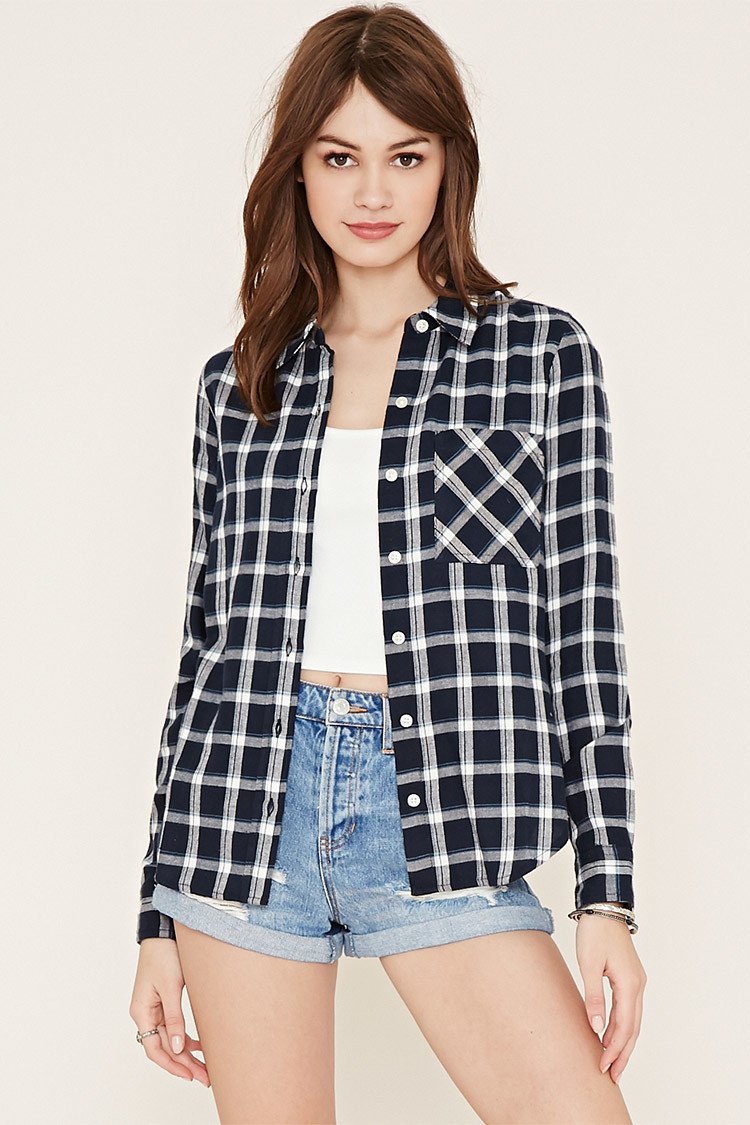 Forever 21 check flannel shirt in blue lyst for Flannel shirts for womens forever 21