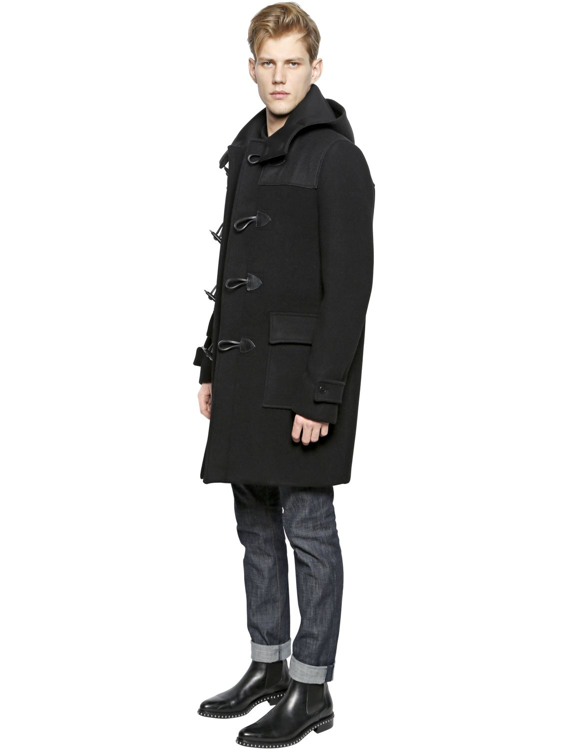 Givenchy Hooded Wool Felt Duffle Coat in Black | Lyst